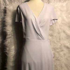 Aritzia Babaton Light Gray Slit Wrap Midi Dress S
